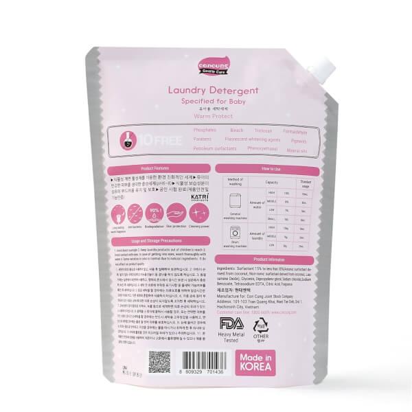 Nước giặt Hàn Quốc ConCung Gentle Care hương ngọt ấm, túi 2L