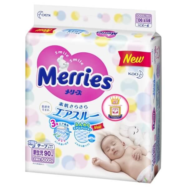 Combo 3 gói Bỉm tã dán Merries size Newborn 90 miếng (dưới 5kg)