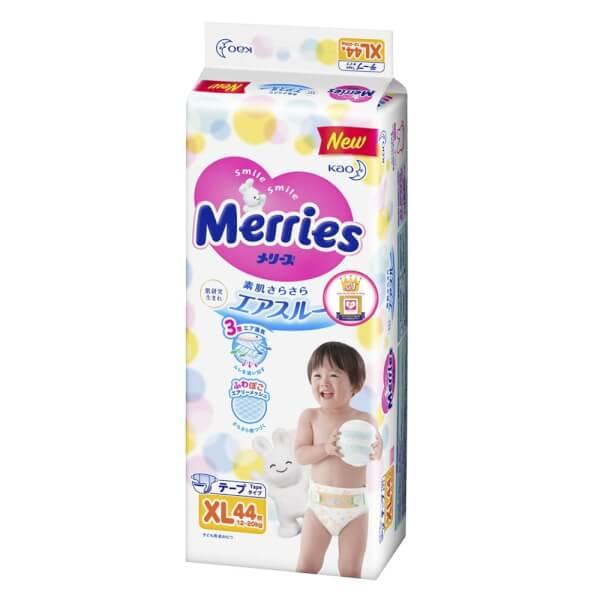 Bỉm tã dán Merries size XL 44 miếng (12-20kg)