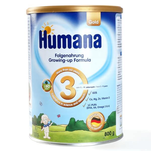 Thực phẩm bổ sung Humana Gold số 3, 1-9 tuổi, 800g