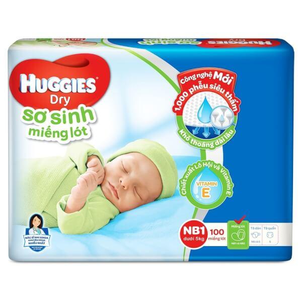Miếng lót Huggies size Newborn 1 100 miếng (dưới 5kg)