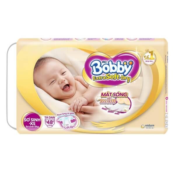 Tã dán Bobby cao cấp Extra Soft Dry (NB - XS, dưới 5kg, 48 miếng)