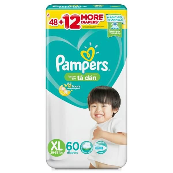 Tã dán Pampers nhập khẩu XL 60 miếng