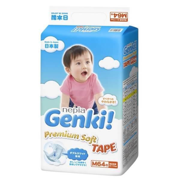 Bỉm tã dán Genki size M 64 miếng (6-11kg)