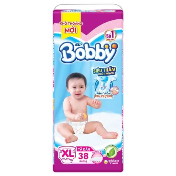 Tã dán Bobby Fresh siêu thấm size XL, 12-17kg, 38 miếng