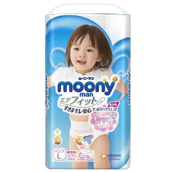Bỉm tã quần Nhật cao cấp Moony bé gái size L 44 miếng (9-14kg)