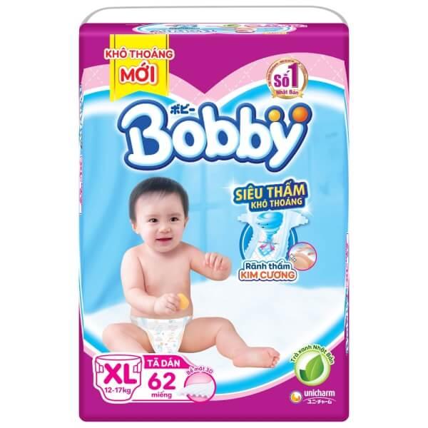 Bỉm tã dán Bobby siêu thấm size XL 62 miếng (12-17kg)