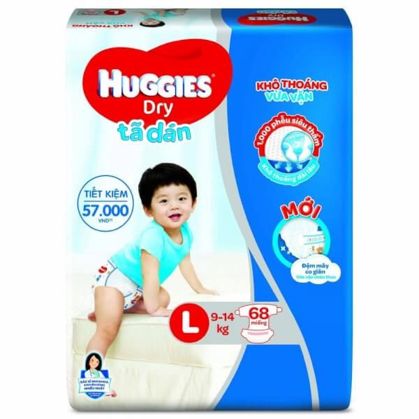 Bỉm tã dán Huggies Dry size L 68 miếng (9 – 14kg)