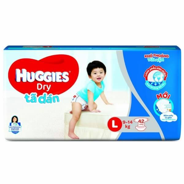 Tã dán Huggies Dry-Jumbo (L, 9-14kg, 42 miếng)