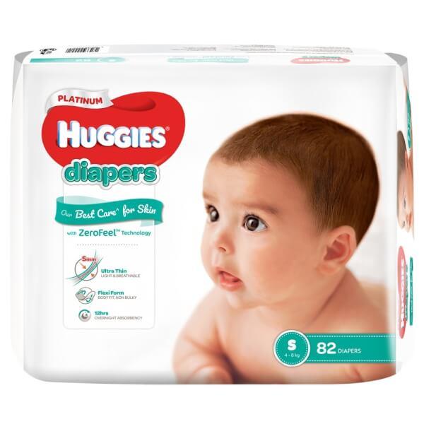 Bỉm tã dán Huggies Platinum size S 82 miếng (4-8kg)