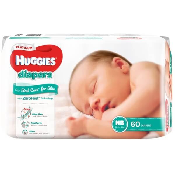 Bỉm tã dán Huggies Platinum size Newborn 60 miếng (dưới 5kg)