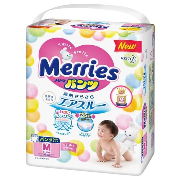 Bỉm tã quần Merries size M 58 miếng (6-11kg)