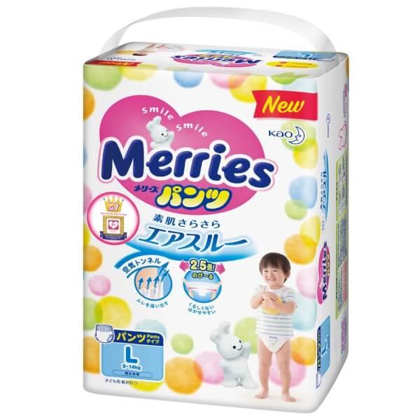 Bỉm tã quần Merries size L 44 miếng (9-14kg)