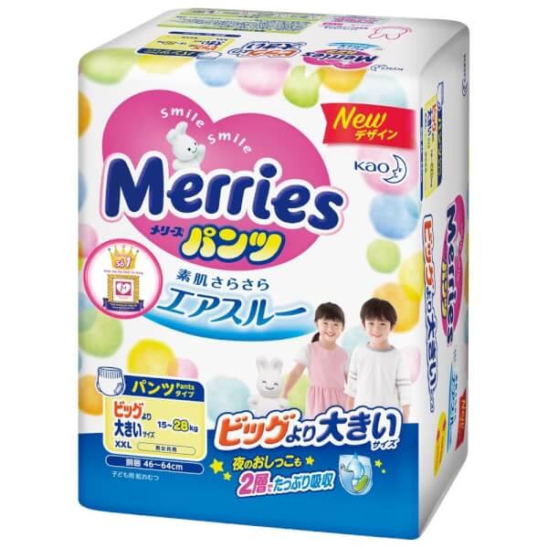 Bỉm tã quần Merries size XXL 26 miếng (15-28kg)