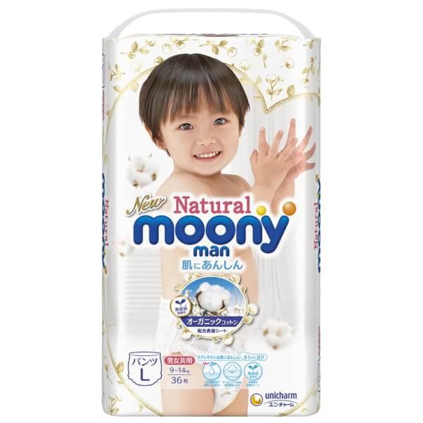 Bỉm tã quần Moony Natural size L 36 miếng (9-14kg)