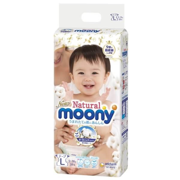 Bỉm tã dán Moony Natural size L 38 miếng (9-14kg)