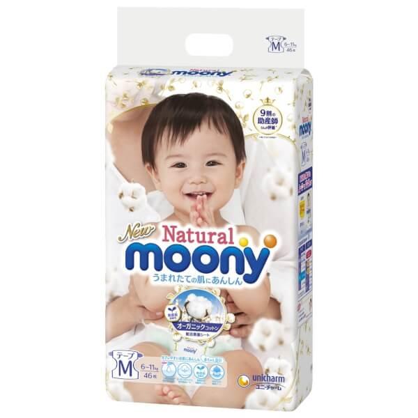 Bỉm tã dán Moony Natural size M 46 miếng (6-11kg)