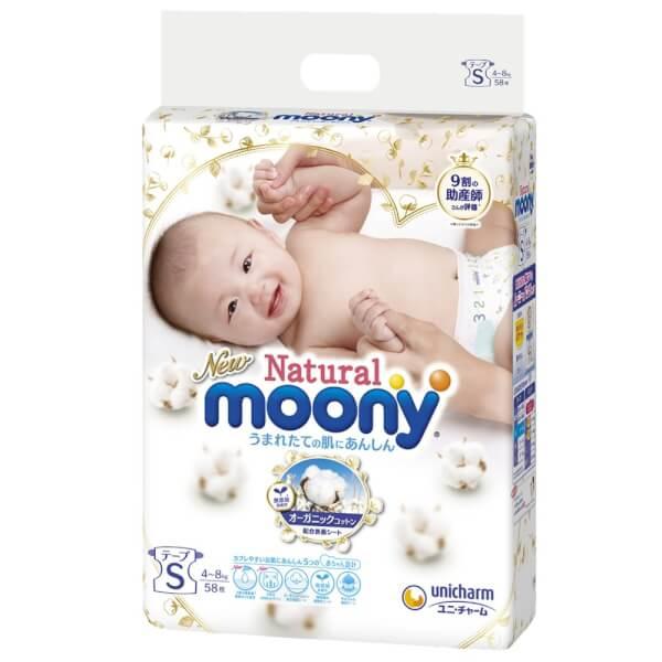 Bỉm tã dán Moony Natural size S 58 miếng (4-8kg)