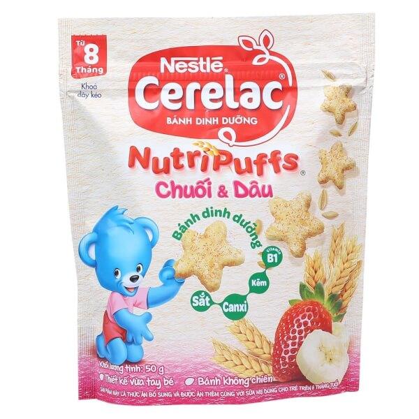 Bánh dinh dưỡng Nestle Cerelac Nutripuffs Vị Chuối và Dâu 50g