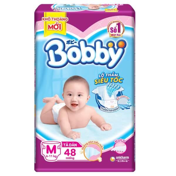 Bỉm tã dán Bobby siêu thấm size M 48 miếng (6-11kg)