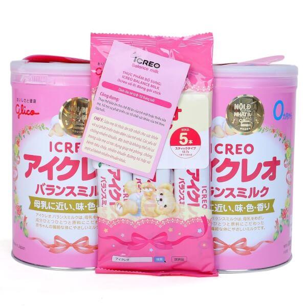 Sữa Glico Icreo số 0 800g – combo 2 lon (0-12 tháng)