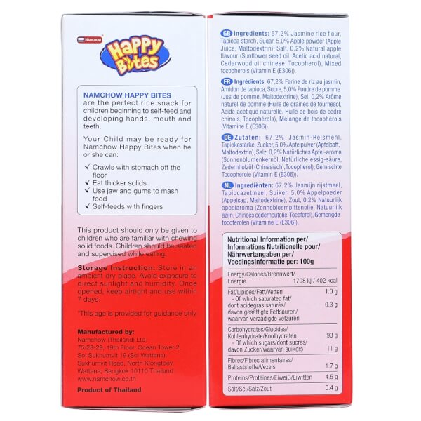 Bánh Gạo Ăn Dặm Cho Trẻ Em Happy Bites Táo 50g
