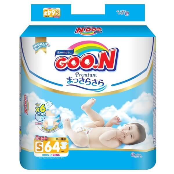 Combo 7 gói bỉm tã dán Goon Premium size S 64 miếng (4-8kg)