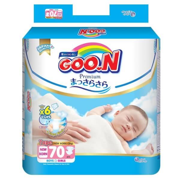 Combo 7 gói bỉm tã dán Goon Premium size Newborn 70 miếng (dưới 5kg)