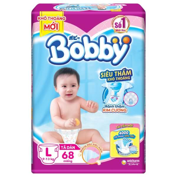 Bỉm tã dán Bobby siêu thấm size L, 68 miếng (9-13kg)