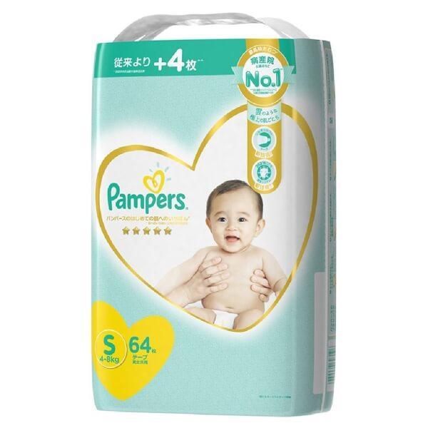 Bỉm tã dán Pampers Nhật size S 64 miếng (4-8kg, New)