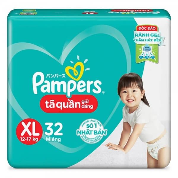 Combo 5 Bỉm tã quần Pampers giữ dáng size XL, 32 miếng (12-17kg)
