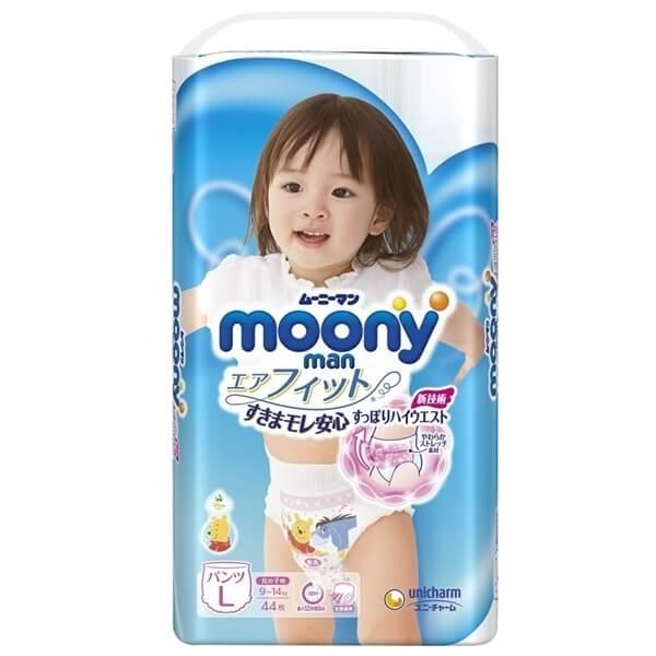 Bỉm tã quần Moony bé gái size L 44 miếng (9-14kg)