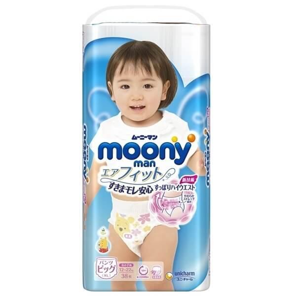 Bỉm tã quần Moony bé gái size XL 38 miếng (12-22kg)