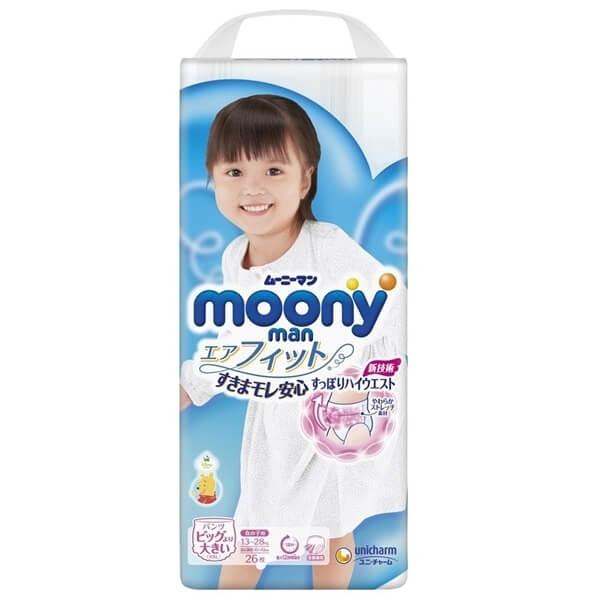 Bỉm tã quần Moony bé gái size XXL 26 miếng (13-28kg)