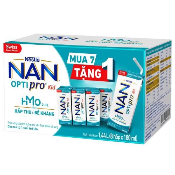 Combo 5 thùng sữa dinh dưỡng pha sẵn Nestlé NAN OPTIPRO Kid 180ml (Mua 7 tặng 1)