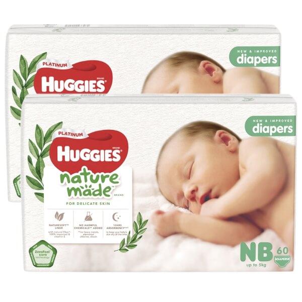 Combo 2 bỉm tã dán Huggies Platinum Nature Made size Newborn 60 miếng (dưới 5kg)