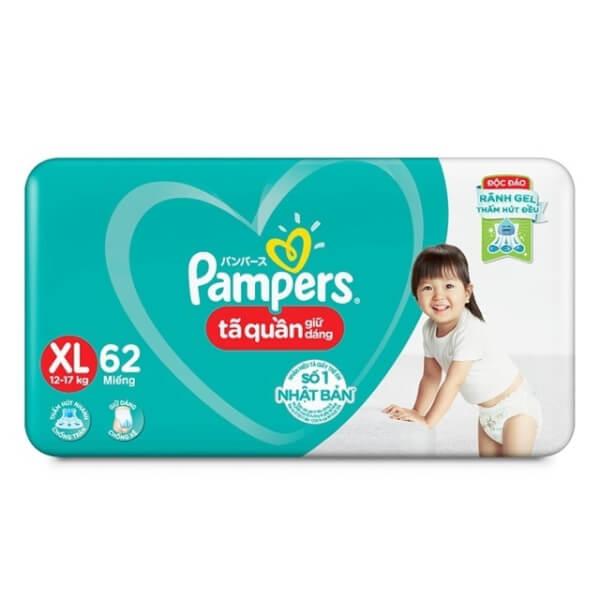 Bỉm tã quần Pampers giữ dáng Super Jumbo size XL, 62 miếng