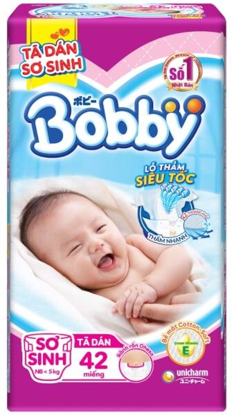 Tã dán Bobby siêu mỏng sơ sinh, dưới 5kg, 40 + 2 miếng