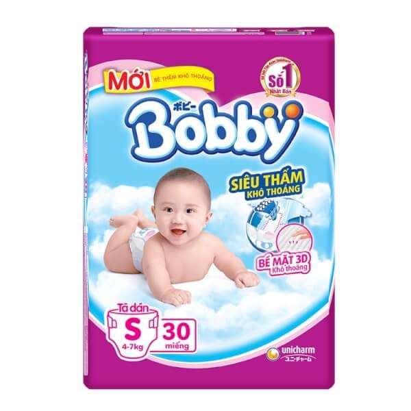 Bỉm tã dán Bobby siêu thấm khô thoáng size S, 30 miếng + 2 miếng (4-7kg)