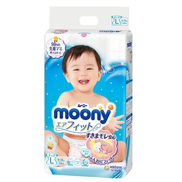 Bỉm tã dán Moony size L, 54 miếng (9-14kg)