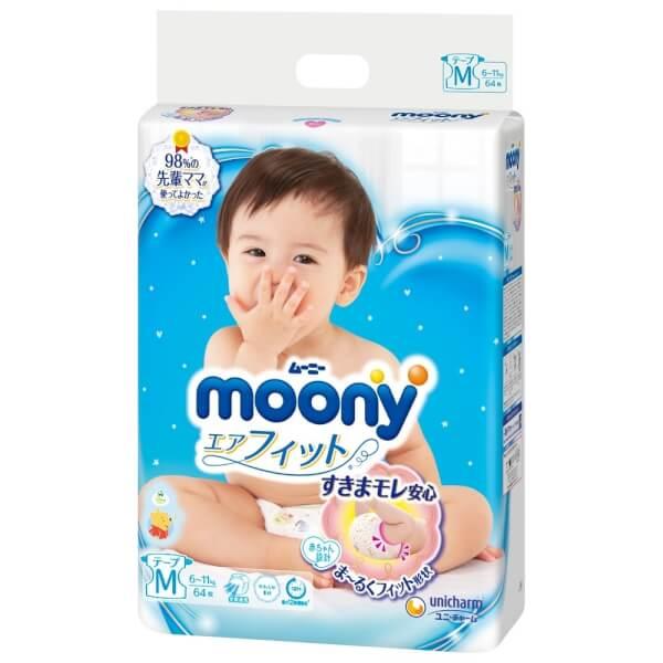 Bỉm tã dán Moony size M, 64 miếng (6-11kg)