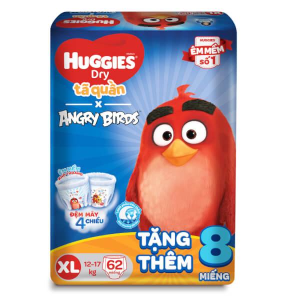 Bỉm tã quần Huggies Dry (XL, 12-17kg, 62 miếng) + 8 miếng