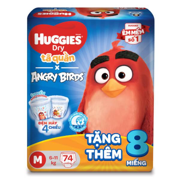Bỉm tã quần Huggies Dry Pants (M, 6-11kg, 74 miếng) + 8 miếng