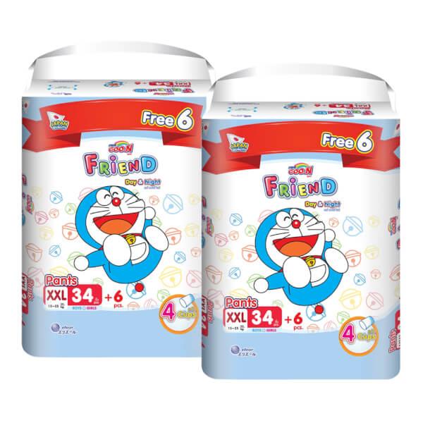 Combo 2 gói Tã quần Goon Friend Renew Super Jumbo (XXL, 34 miếng) + 6 miếng