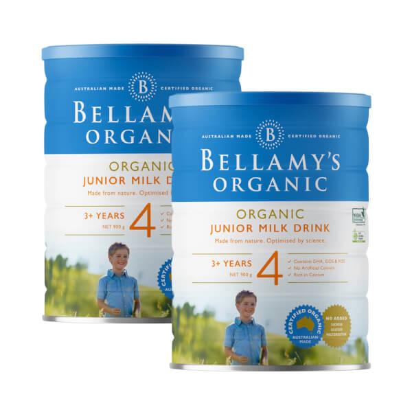 Combo 2 lon Bellamy's Organic Junior Milk Drink số 4, 900g, trên 3 tuổi