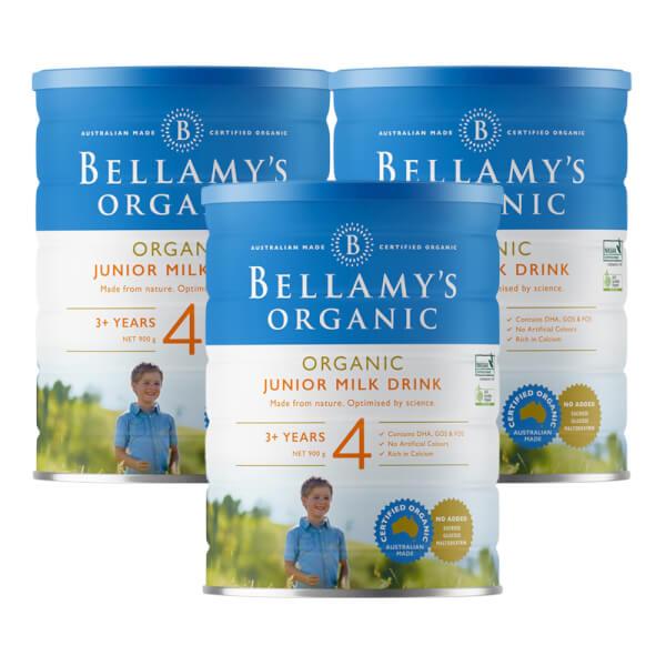 Combo 3 lon Bellamy's Organic Junior Milk Drink số 4, 900g, trên 3 tuổi
