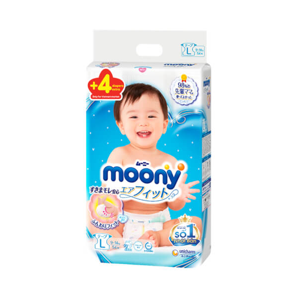 Bỉm tã dán Moony size L, 54 + 4 miếng (9-14kg)