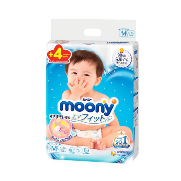 Bỉm tã dán Moony size M, 64 + 4 miếng (6-11kg)