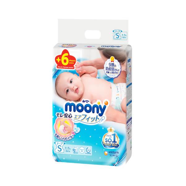 Bỉm tã dán Moony size S, 84 + 6 miếng (4-8kg)