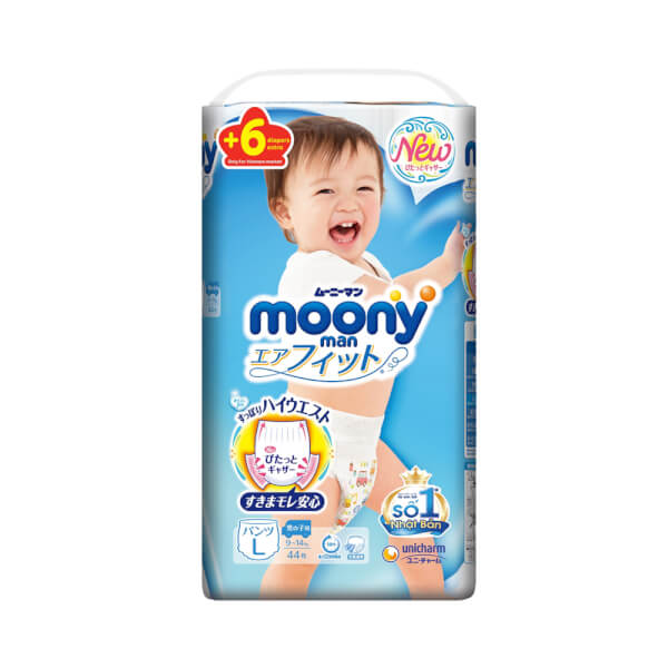 Bỉm tã quần Moony bé trai size L 44 + 6 miếng (9-14kg)
